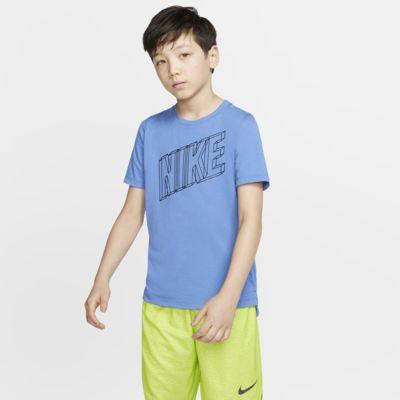 Kortärmad träningströja med tryck Nike Breathe för killar