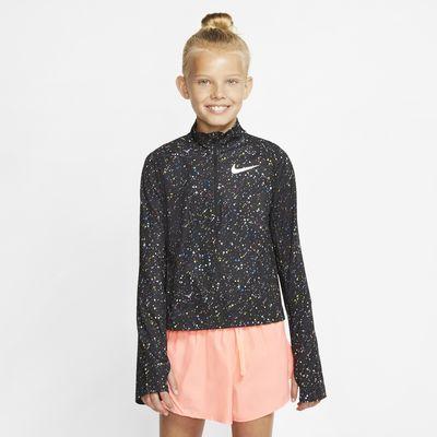 Футболка с длинным рукавом и молнией на половину длины для девочек школьного возраста Nike Pro Warm
