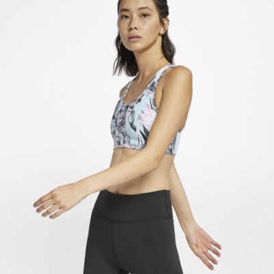 Blommönstrad sport-BH Nike Swoosh med mediumstöd