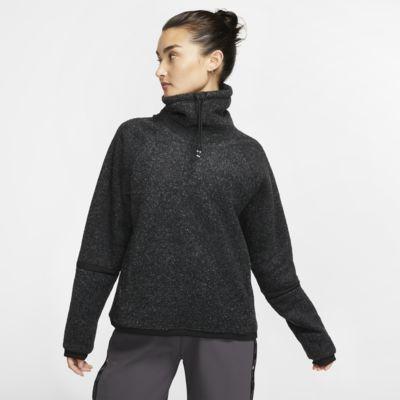 Langærmet Nike Therma-træningsoverdel i fleece til kvinder