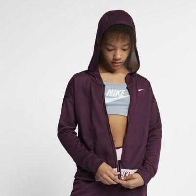 Sudadera con capucha de entrenamiento de cierre completo para niña talla grande Nike