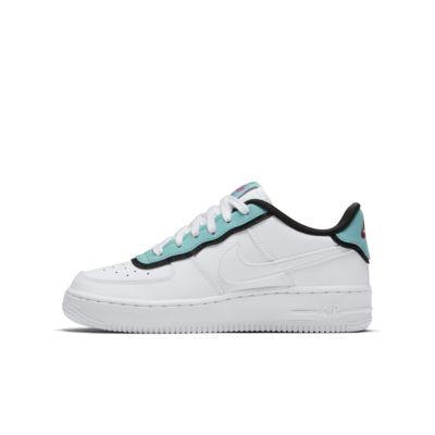 Купить Кроссовки для школьников Nike Air Force 1 LV8 DBL, Белый/Светлая морская волна/Черный/Белый, 22889289, 12551133