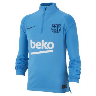 Купить Игровая футболка с длинным рукавом для школьников FC Barcelona Dri-FIT Squad Drill, Equator Blue/Equator Blue/Яркий небесный/Прибрежный синий, 22365200, 12445352