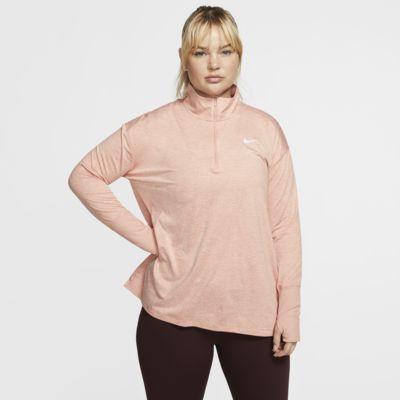 Nike løpetrøye med glidelås i halsen til dame (store størrelser)