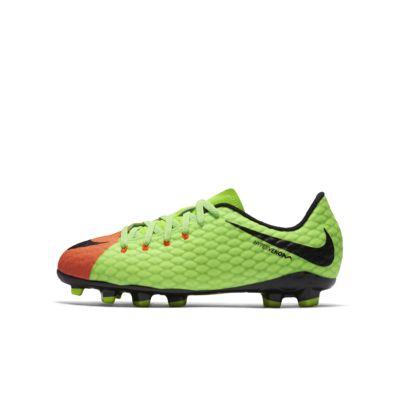 Nike Jr. Hypervenom Phelon 3 FG (852595-308) Girls Football Shoes Green/Black/Orange