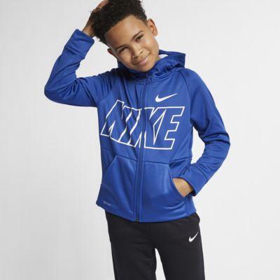 Nike Dri-FIT Therma-træningshættetrøje med lynlås til store børn (drenge)