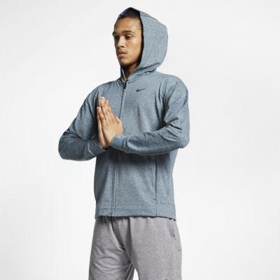 Pánská tréninková mikina na jógu Nike Dri-FIT s kapucí a zipem po celé délce