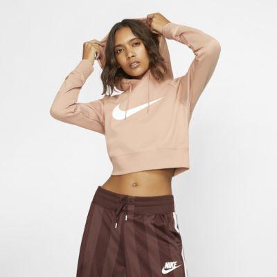 Huvtröja i frotté Nike Sportswear Swoosh i kort modell för kvinnor