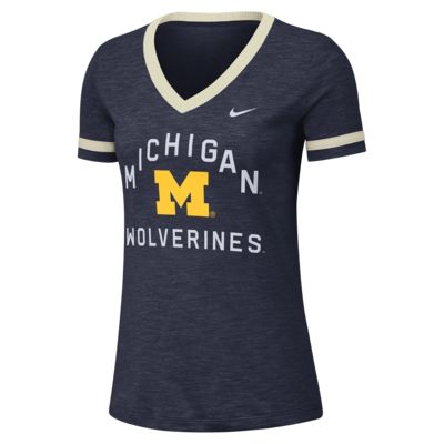 Nike College Dri-FIT Fan (Michigan) Women's Short-Sleeve V-Neck Top