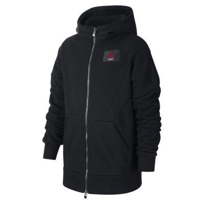 Mikina Jordan Flight Lite s kapucí a dlouhým zipem pro větší děti (chlapce)