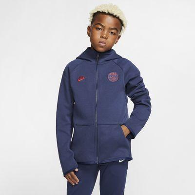 Paris Saint-Germain Tech Fleece Essentials Hoodie mit durchgehendem Reißverschluss für ältere Kinder