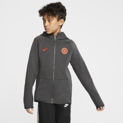 Chelsea FC Tech Fleece Essentials hosszú cipzáras, kapucnis pulóver nagyobb gyerekeknek