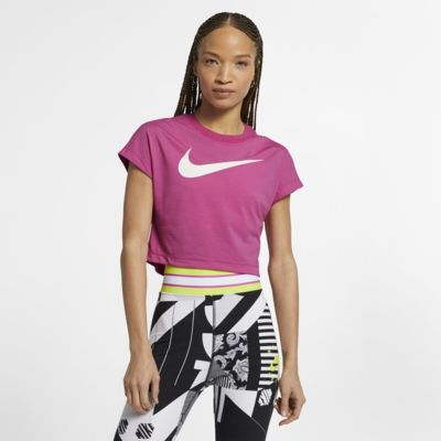 เสื้อเอวลอยแขนสั้น Swoosh ผู้หญิง Nike Sportswear