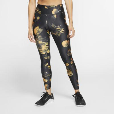 กางเกงเทรนนิ่งรัดรูปผู้หญิงลายดอกไม้ Nike Power