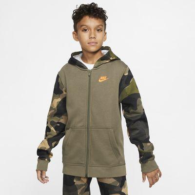 Μπλούζα με κουκούλα και φερμουάρ σε όλο το μήκος Nike Sportswear Club για μεγάλα αγόρια