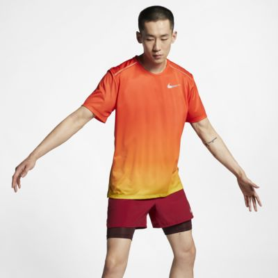 Kortärmad löpartröja Nike Dri-FIT Miler med tryck för män