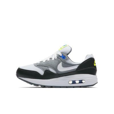 Купить Кроссовки для школьников Nike Air Max 1, Антрацитовый/Темно-серый/Салатовый/Белый, 22315347, 12432992