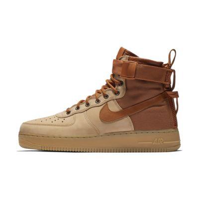 Купить Мужские кроссовки Nike SF Air Force 1 Mid Premium, Пралине/Светло-коричневая резина/Темно-коричневый, 21987569, 12325203