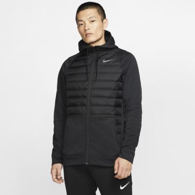 Ανδρική χειμερινή μπλούζα προπόνησης με κουκούλα και φερμουάρ σε όλο το μήκος Nike Therma