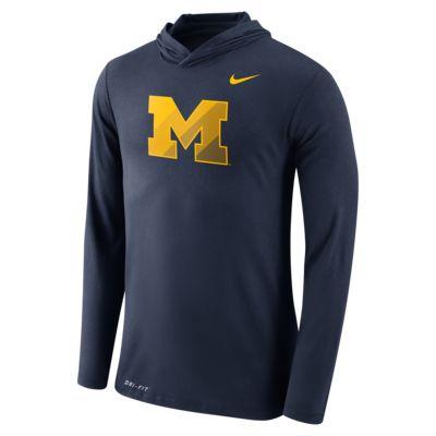 Nike College Dri Blend Hooded Michigan Men 39 S Long Sleeve