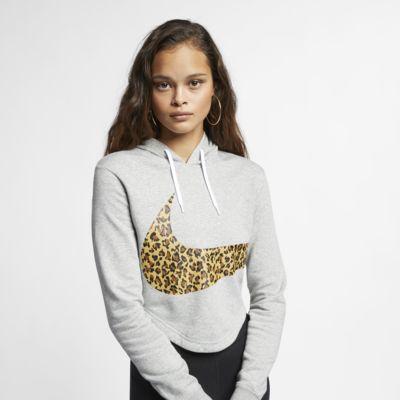 Nike Sportswear állatmintás, rövid szabású női kapucnis pulóver