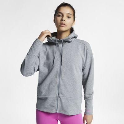 Nike Dri-FIT-hættetrøje med lange ærmer og lynlås i fuld længde til kvinder