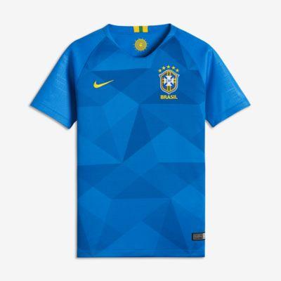 Camiseta de fútbol de visitante para niños talla grande Stadium de Brasil CBF 2018