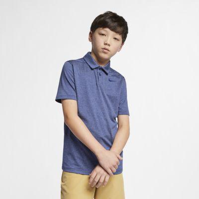 Ριγέ μπλούζα πόλο για γκολφ Nike Dri-FIT για μεγάλα αγόρια