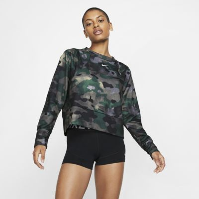 Camiseta de entrenamiento camuflada de vellón para mujer Nike Dri-FIT