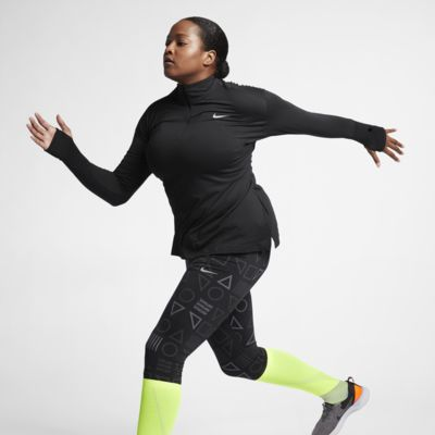 Женская беговая футболка с молнией на половину длины Nike (большие размеры)