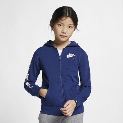Sudadera con capucha de cierre completo para niña talla grande Nike Air