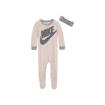Nike Baby (0-9M) Footed Coverall and Headband Set