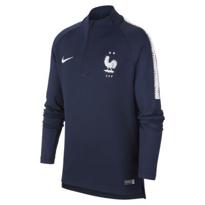 Camisola de futebol de manga comprida FFF Dri-FIT Squad Drill Júnior