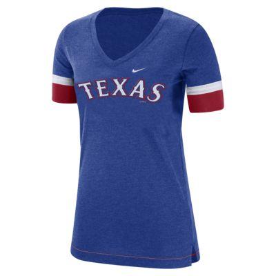 Nike Dri-Blend Fan V (MLB Rangers) Women's V-Neck T-Shirt