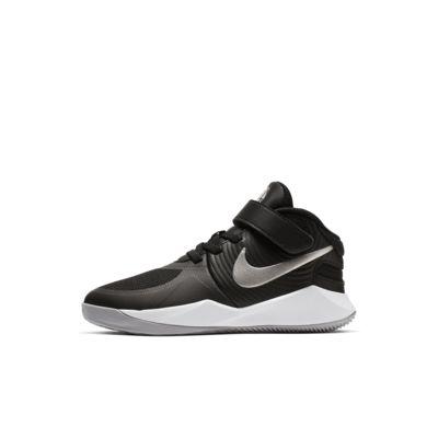 Купить Кроссовки для дошкольников Nike Team Hustle D 9 FlyEase, Черный/Темно-серый/Серебристый металлик, 23177991, 12624149