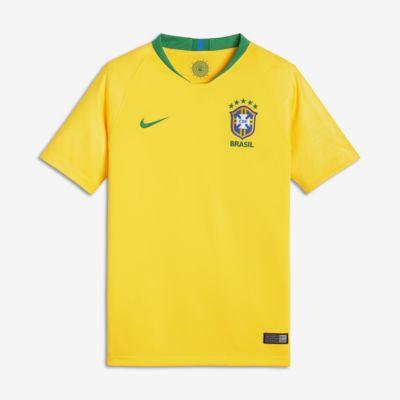 2018 Brasilien CBF Stadium Home Fußballtrikot für ältere Kinder