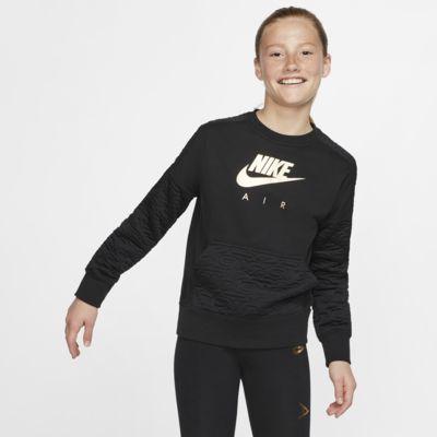 Camisola de manga comprida em lã cardada Nike Air para rapariga
