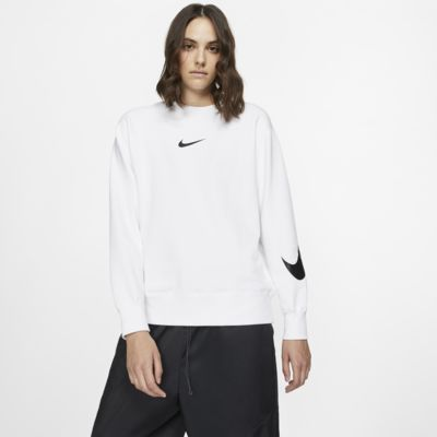 Nike Sportswear Swoosh Shirt van sweatstof met ronde hals en lange mouwen