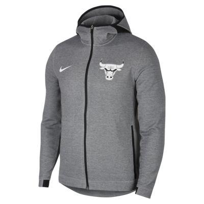 芝加哥公牛队 Nike Dri-FIT Showtime 男子 NBA 全长拉链开襟连帽衫