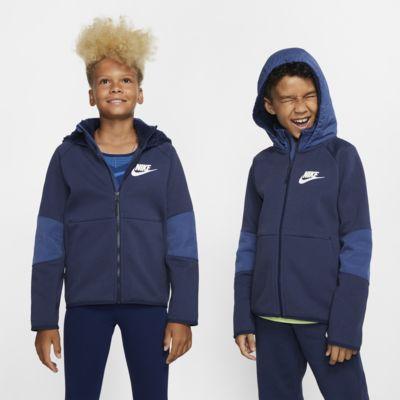 Sudadera con capucha con cierre completo acondicionada para el invierno para niños talla grande Nike Sportswear Tech Fleece