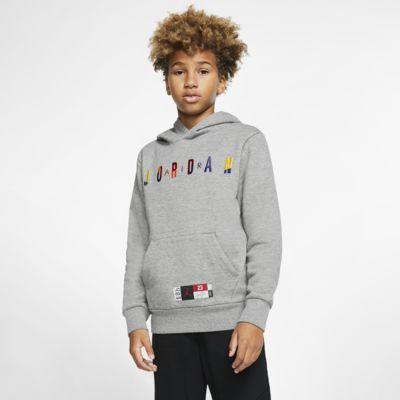 Air Jordan-pullover-hættetrøje i fleece til store børn (drenge)