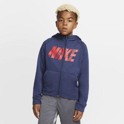 Bluza treningowa z kapturem, grafiką i zamkiem na całej długości dla dużych dzieci Nike Dri-FIT