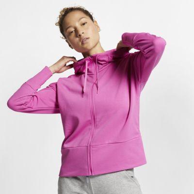 Långärmad huvtröja Nike Dri-FIT med hel dragkedja för kvinnor