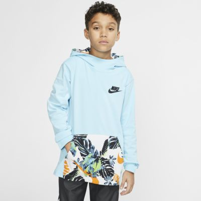 Nike Sportswear-hættetrøje med halv lynlås til store børn