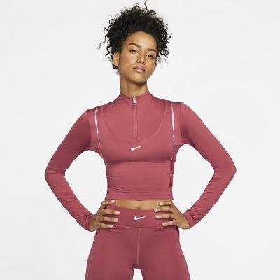 Långärmad tröja Nike Pro HyperWarm med halv dragkedja för kvinnor