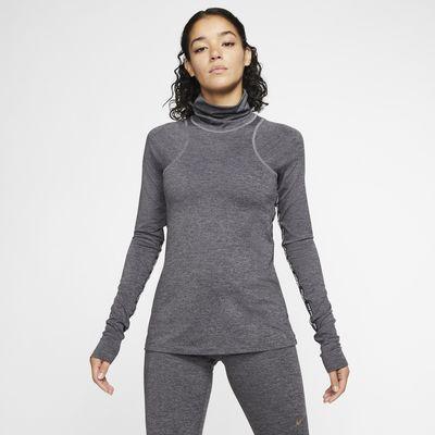 Lesklý dámský tréninkový top s dlouhým rukávem Nike Pro Warm