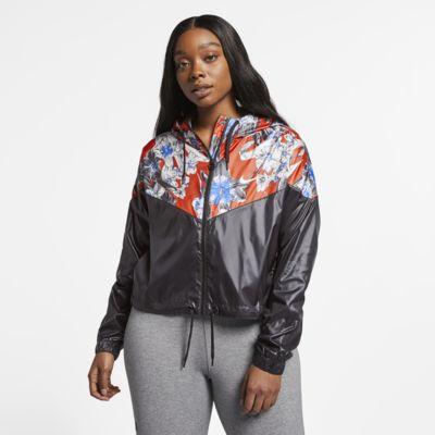 Nike Sportswear Windrunner Floral kort jakke til dame (store størrelser)