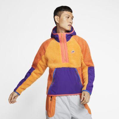 Nike Sportswear hettejakke med halv glidelås i sherpa