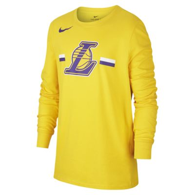 T-shirt a manica lunga Los Angeles Lakers Nike Dri-FIT Logo NBA - Ragazzi