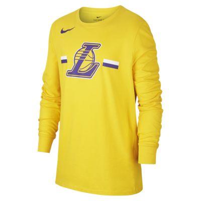 Tee-shirt NBA à manches longues Los Angeles Lakers Nike Dri-FIT Logo pour Enfant plus âgé
